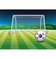 A ball at the field with the flag of South Korea vector image