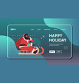 african american santa in protective mask riding vector image vector image