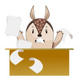armadillo working on white background vector image vector image