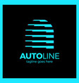 auto line logotype - letter a dynamic sport line vector image vector image