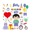 baby icons for boys icon flat vector image