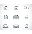Black houses icons set