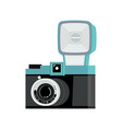 blue and black analog film camera with flash flat vector image vector image