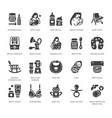 breastfeeding baby food flat glyph icons vector image