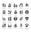 breastfeeding baby food flat glyph icons vector image vector image