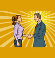 businessman and businesswoman handshake vector image vector image