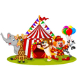 Cartoon happy animal circus and clown vector image vector image