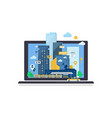city landscape on laptop computer screen vector image