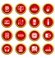 computer icon red circle set vector image vector image