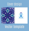 cover design with blue floral ornament vector image vector image