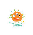 cute orange monster and thanks lettering text vector image vector image