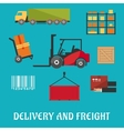 Delivery and freight flat infographic vector image