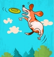 Dog with frisbee vector image