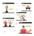 doing sports during coronavirus quarantine yoga vector image vector image