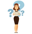 doubt businesswoman taking decision question marks vector image vector image