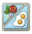 egg on tray icon cartoon style vector image