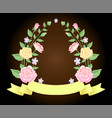 floral frame with ribbon template decoration vector image