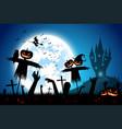 halloween festival backgroundfull moon on dark vector image
