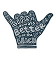 hand drawn shaka hand with lettering and symbols vector image