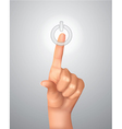 hand on power button vector image vector image