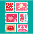 happy valentines day set postage stamps vector image
