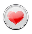 heart symbol in round chrome frame vector image