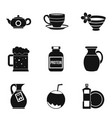 kitchen kettle icons set simple style vector image