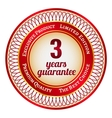 Label on 3 year guarantee vector image vector image