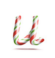 letter u 3d realistic candy cane alphabet vector image vector image