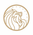 lion roaring circle gold logo white vector image