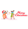 little oxes in santa hats standing with snowman vector image vector image