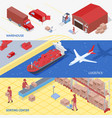 logistics services isometric banners vector image vector image