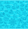 ocean blue seamless background doodle elements vector image