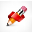 Pencil with red ribbon vector image vector image
