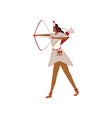 red indian woman pulls titevu bow vector image vector image