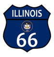 route 66 illinois sign and flag vector image vector image