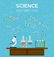 science day card of school tools for education vector image vector image