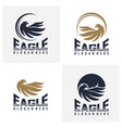set eagle logo design flying eagle logo vector image vector image