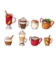 set hot winter drinks hand drawn sketch vector image vector image