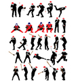 Set of detail baseball athlete silhouettes vector image vector image