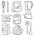 set of kitchen equipment doodles vector image vector image