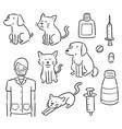 set veterinarian animal and equipment vector image vector image