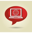 speech bubble with laptop isolated icon design vector image