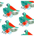 tropical jungle seamless pattern with parrot bird vector image vector image