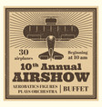 vintage airshow poster label with airplane vector image vector image
