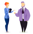 woman and man stand manager or secretary and boss vector image vector image