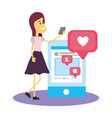 woman on social networks vector image vector image