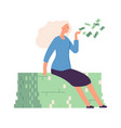 woman sharing money flying cash rich girl vector image vector image