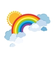 Colored rainbows with clouds and sun Cartoon vector image