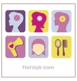 Hairstyle rectangular icons with rounded corners vector image